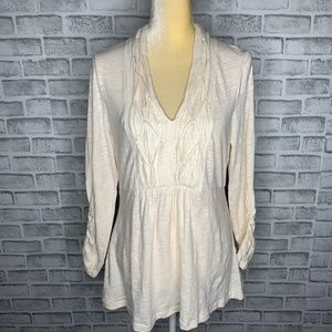 Anthropologie Deletta Ivory Knit Top Ruched A3-34
